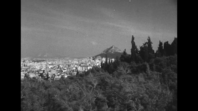 view of athens cityscape / view of mount lycabettus in distance / view of the parthenon overlooking athens / view of the propylaea / note: exact... - archaeology stock videos & royalty-free footage