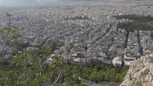 view of athens from mount lycabettus, athens, greece, europe - lycabettus hill stock videos & royalty-free footage