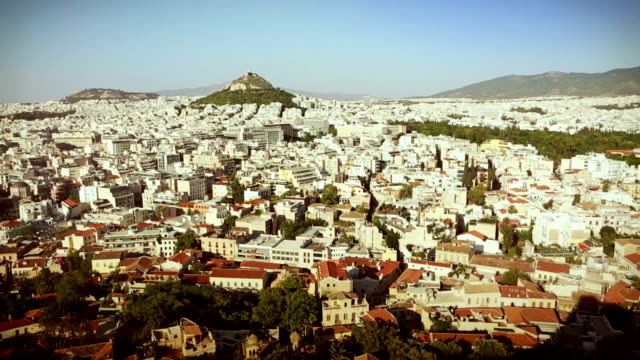 view of athens from the acropolis - parthenon athens stock videos and b-roll footage