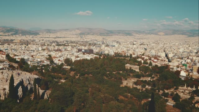 view of athens, greece city skyline from above. - lycabettus hill stock videos & royalty-free footage