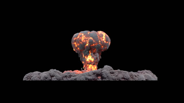 stockvideo's en b-roll-footage met ws view of atomic mushroom cloud with ground smoke and initial flare on keyable backdrop / montreal, quebec, canada - keyable