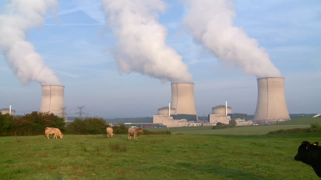ws view of atomic power plant cattenom / cattenom, lorraine, france - atomkraftwerk stock-videos und b-roll-filmmaterial