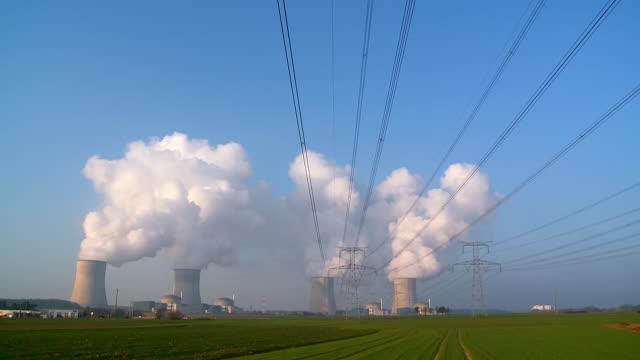 ws view of atomic power plant cattenom / cattenom, lorraine, france - lorraine stock videos & royalty-free footage