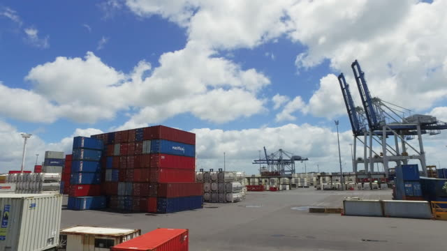 view of auckland port, on a nice sunny day. - docks stock videos & royalty-free footage
