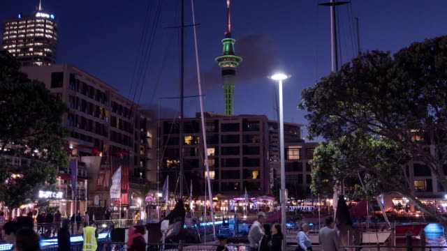 view of auckland skyline at night. - waterfront stock videos & royalty-free footage