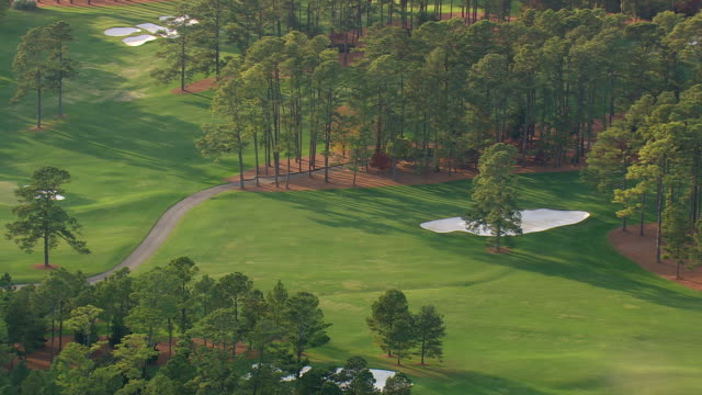 MS AERIAL View of Augusta national golf course / Georgia, United States
