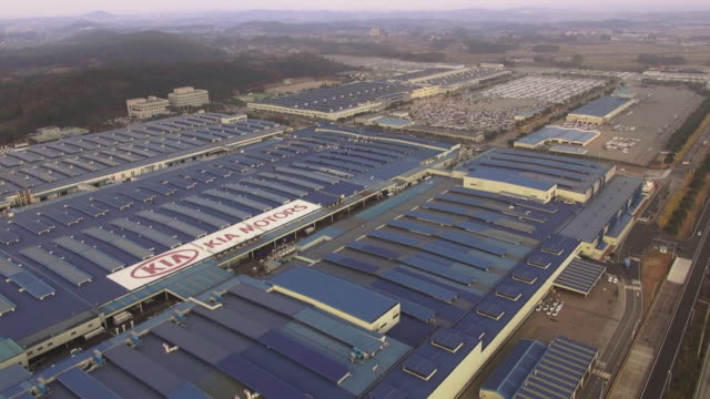 ws aerial view of automobile factory / hwaseong, gyeonggi-do, south korea - western script stock videos & royalty-free footage