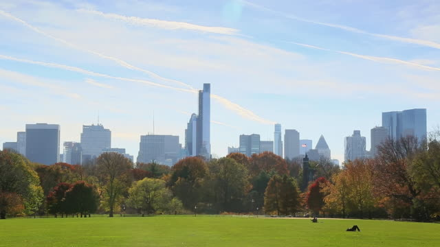 ws pan view of autumn color trees and manhattan skyline and cloud at great lawn / new york, united states - great lawn stock videos and b-roll footage