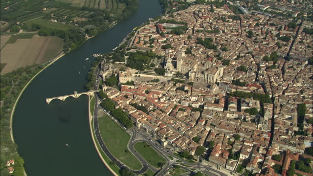 aerial, view of avignon, provence-alpes-cote d'azur, france - rhone river stock videos & royalty-free footage