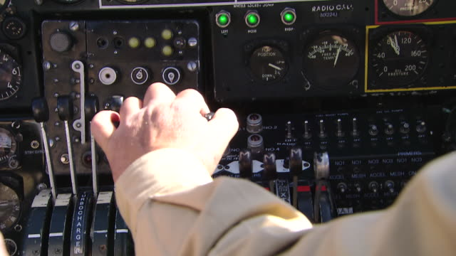 cu view of b-24 bomber cockpit controls / florida, united states - bomber plane stock videos and b-roll footage