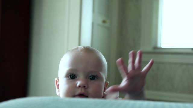 vídeos de stock e filmes b-roll de cu view of  baby recovering from fall / losangeles, ca, united states - vida de bebé