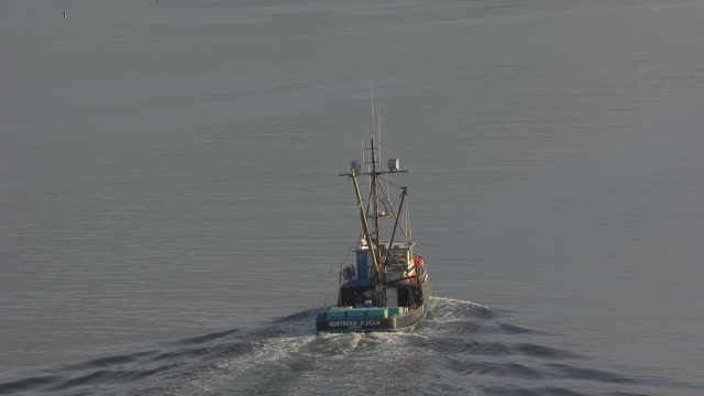 CU AERIAL ZO View of back of Jaeger Fishing Boat to boat heading into harbor / Alaska, United States