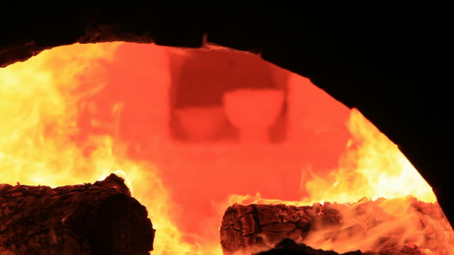 view of baking pottery in a kiln in daejeon - kiln stock videos and b-roll footage