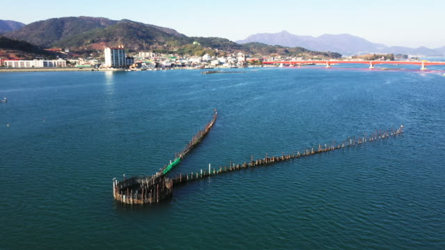 view of bamboo weirs (used for catching anchovys) in namhae county south gyeongsang province south korea - anchovy stock videos & royalty-free footage