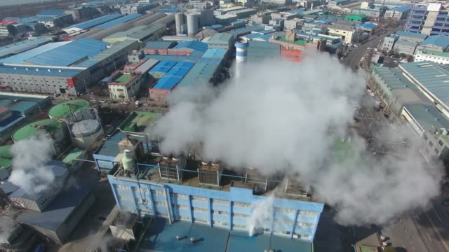 View of Banwol industrial complex and chimney smoke in Ansan, Gyeonggi-do, South Korea