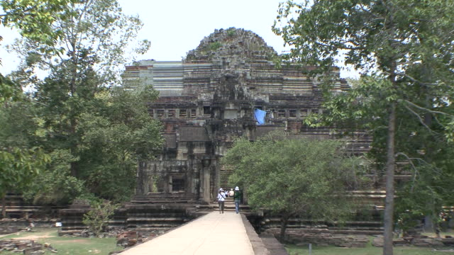 ws zo view of baphuon temple / siem reap, cambodia - cambodian culture stock videos and b-roll footage