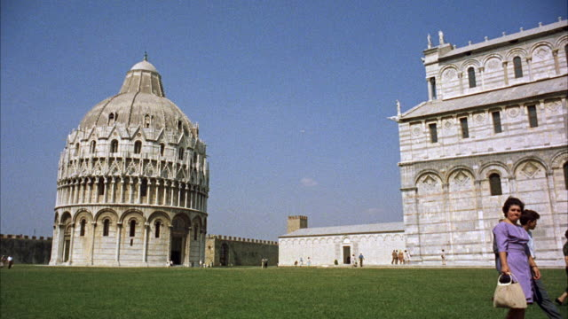 MS PAN View of  baptistry past duomo and leaning tower of pisa
