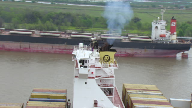 WS ZO AERIAL POV View of Barataria Bay with MSC freighter / Louisiana, United States