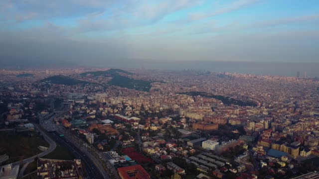View of Barcelona city from the air