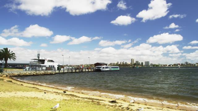 ws view of barrack ferries terminal near swan river / perth, western australia, australia - フェリーターミナル点の映像素材/bロール