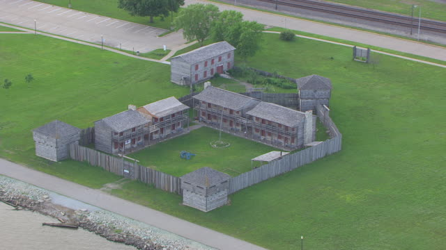 WS AERIAL POV View of barracks in old Fort Madison city / Fort Madison, Iowa, United States
