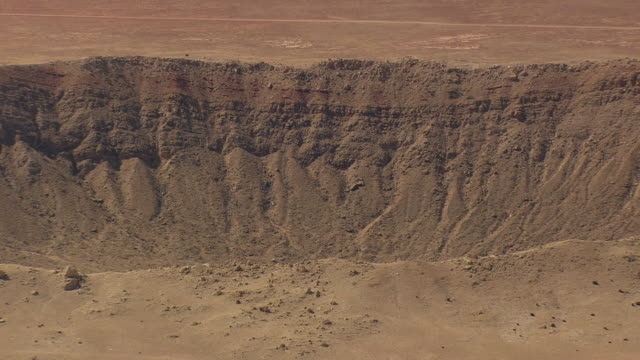 WS AERIAL View of Barringer Crater / Arizona, United States