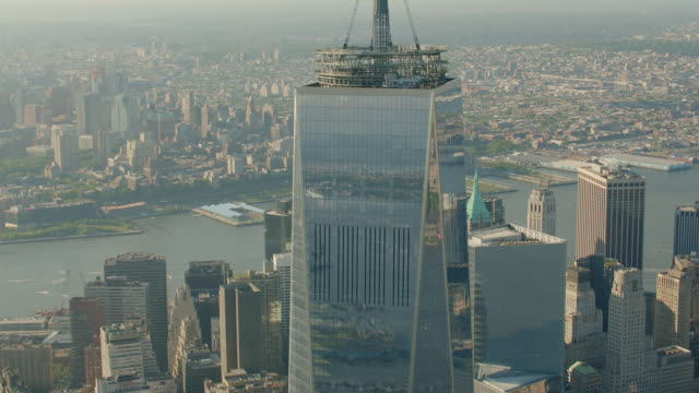 ms tu aerial view of base of freedom tower / new york city  - one world trade center stock videos & royalty-free footage