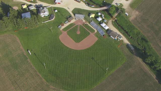 WS AERIAL POV View of Baseball diamond with field / Dubuque County, Iowa, United States