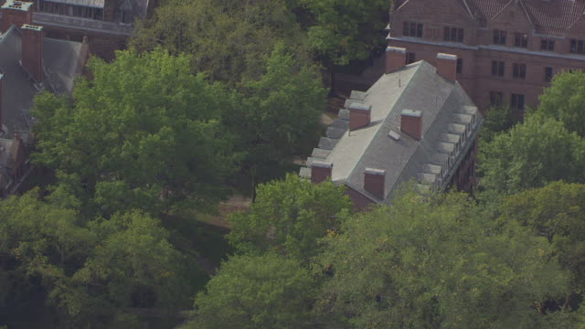 WS AERIAL POV View of Battell Chapel near Yale University Old Campus / New Haven, Connecticut, United States