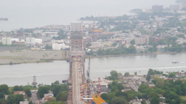 MS AERIAL View of  bayonne bridge during construction work / New York City