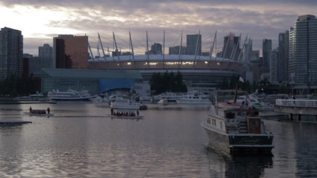 View of BC Place Stadium and False Creek at dusk Vancouver British Columbia Canada North America