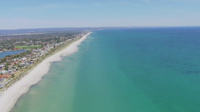 ws aerial td view of beach / adelaide, australia - coastline stock videos & royalty-free footage