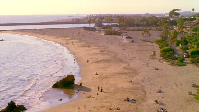 ws pan view of beach and houses / laguna, california, usa - laguna beach california stock videos & royalty-free footage