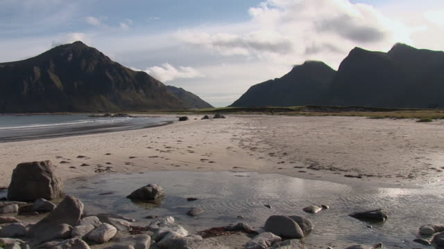 WS PAN View of beach and mountains / Lofoten Islands, Norway