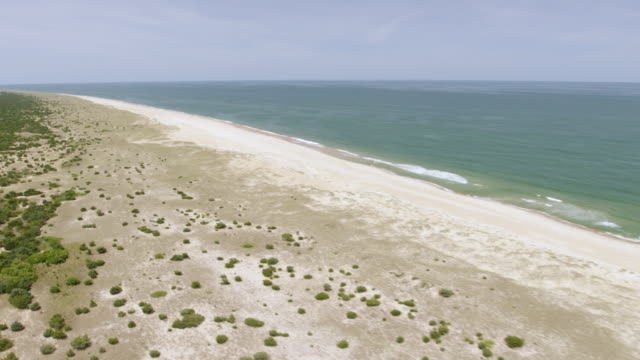 ws aerial pov view of beach and sea / cape hatteras, north carolina, united states - carolina beach stock videos and b-roll footage
