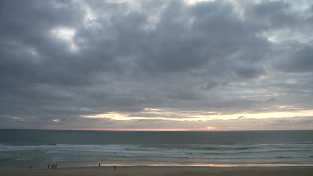 ws view of beach in evening / cap de l'homy, aquitaine, france - aquitaine stock videos and b-roll footage