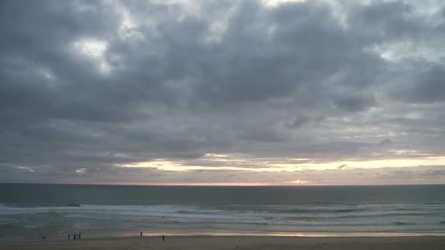 WS View of beach in evening / Cap de l'Homy, Aquitaine, France