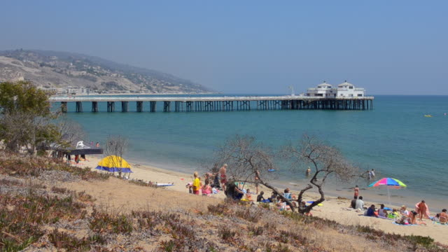 ws view of beach of famous actors movie stars with beach and pier / malibu, california, united states - malibu beach stock videos & royalty-free footage