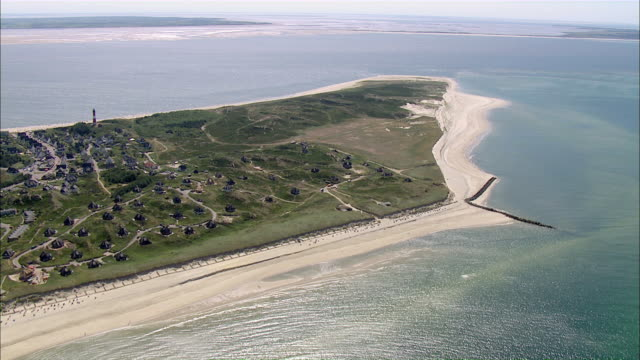 aerail ws view of beach / sylt, schleswig-holstein, germany - sylt stock videos & royalty-free footage