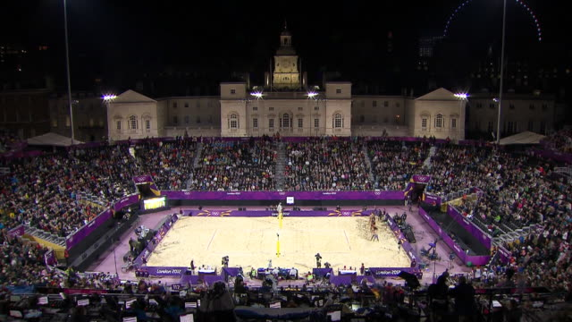 ws t/l view of beach volleyball stadium / london, england, south korea - volleyball sport stock videos & royalty-free footage