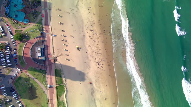 WS ZI AERIAL View of Beaches of Durban's Golden Mile / Durban, Kwazulu-Natal, South Africa