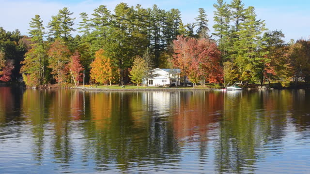 ws view of beautiful fall scene of lake pennasseewassee with summer homes and fall colors in leaf peeping october with reflections in water in northern new england / norway, maine, united states - lake stock videos & royalty-free footage