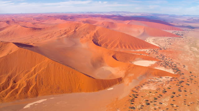 aerial view of beautiful namibian desert - namibian desert stock videos and b-roll footage