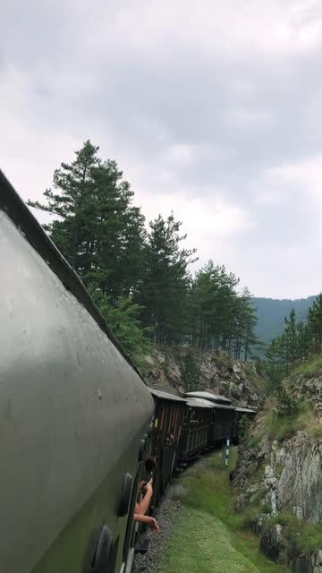 stockvideo's en b-roll-footage met mening van mooie aard van trein - genomen met mobiel apparaat