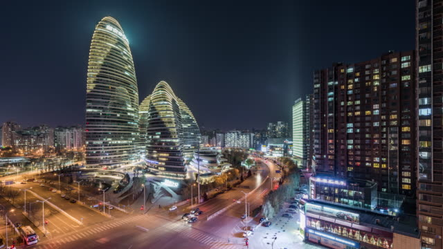 T/L HA ZI View of Beijing Wangjing SOHO and Residential Area at Night