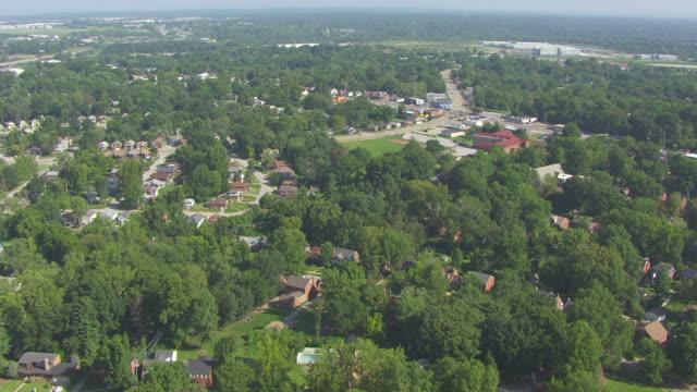 ws aerial view of bel ridge area surrounding home of roland doe / st louis, missouri, united states - exorzimus stock-videos und b-roll-filmmaterial