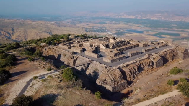 aerial view of belvoir crusader fort in lower galilee / belvoir, galilee, israel - fortress stock videos and b-roll footage