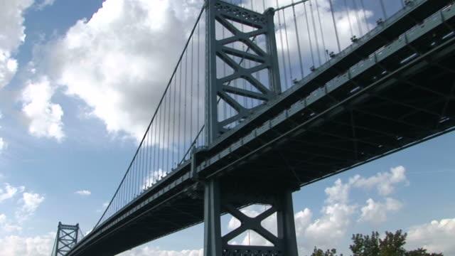 vídeos y material grabado en eventos de stock de view of ben franklin bridge in philadelphia united states - benjamín franklin