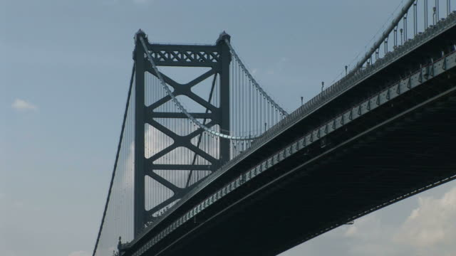 vídeos de stock e filmes b-roll de view of ben franklin bridge in philadelphia united states - ponte ben franklin