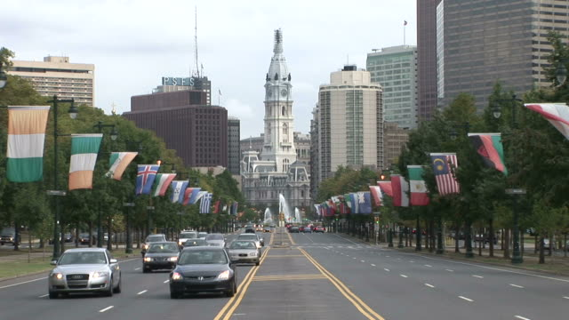 View of Benjamin Franklin Parkway with old Philadelphia City Hall in Philadelphia United states